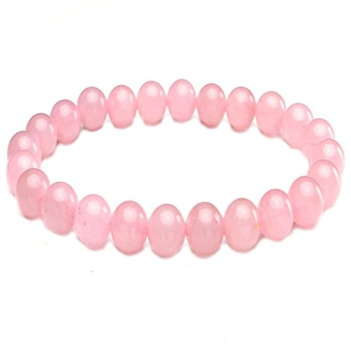 Joybeauty 8mm Healing Energy Gemstone Rose Quartz Birthstone Bead Beaded Stretch Bracelets 7.5 Inch