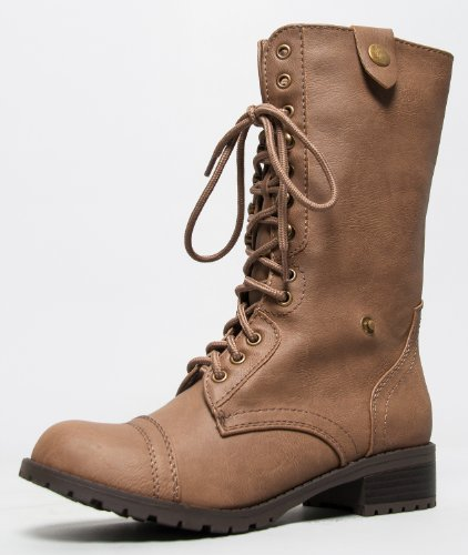 Soda ORALEE Lace Up Fold Over Military Style Combat Boot - stylishcombatboots.com