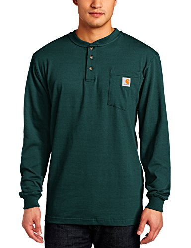 Carhartt Men's Size Workwear Pocket Henley Shirt, Hunter Green Large/Tall ()