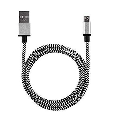 (❤️Jonerytime❤️V8 2A Braided Aluminum Micro USB Data&Sync Faster Charger Cable for Android Phon (Silver))