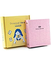 Occasional Motto 100 Pockets Linen Hardcover Photo Album - Fits for Instax Mini Film, 2x3 inch Instant Photo Film, 2-Ring Binder Memory Book