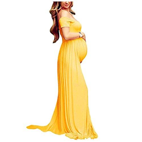 Vestido Larga Sexy Mujer Embarazada Vestido de Maternidad Photoshoot Dress Faldas Fotográficas de maternidad Apoyos De Fotografía Amarillo