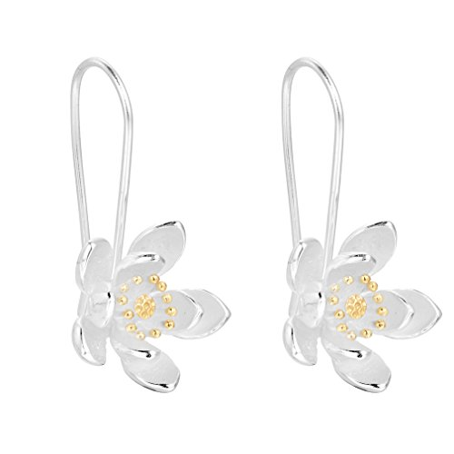 Flowers Hoop Ring (Simple Flower Hoop Earring 925 Sterling Silver Earrings Accessories Handmade Jewelry)