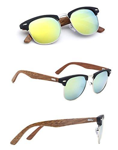 TIJN Mens Bamboo Wooden Semi-Rimless Horn Rimmed Wayfarer Clubmaster - Clubmaster Mirrored Sunglasses