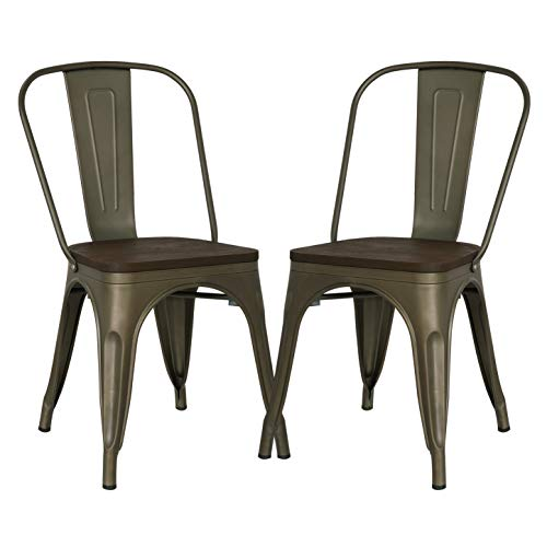 Poly and Bark Trattoria Patio and Dining Metal Side Chair with Elm Wood Seat in Bronze (Set of 2)