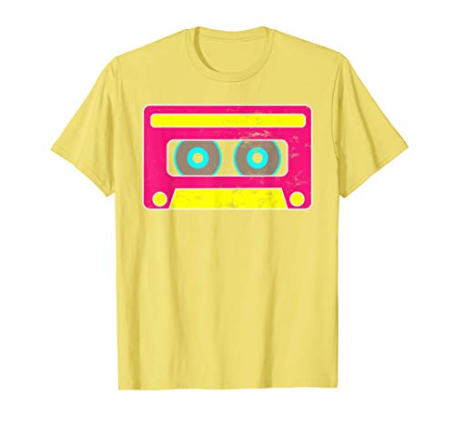 Neon Cassette Tape 1980s Pop Mix Tape Halloween T Shirt ()
