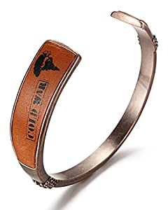 WelMag Men's Genuine Leather Bracelet Adjustable Custom Engraving Cuff
