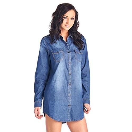 976fa68ffb 60%OFF BLUE AGE Womens Chambray Denim Shirt Blouse Denim Dress ...