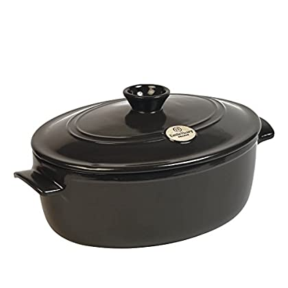 Image of Emile Henry Made In France Flame Oval Stewpot Dutch Oven, 6.3 quart, Charcoal Home and Kitchen