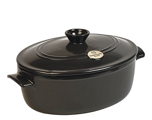 Emile Henry Made In France Flame Oval Stewpot Dutch Oven, 6.3 quart, Charcoal by Emile Henry