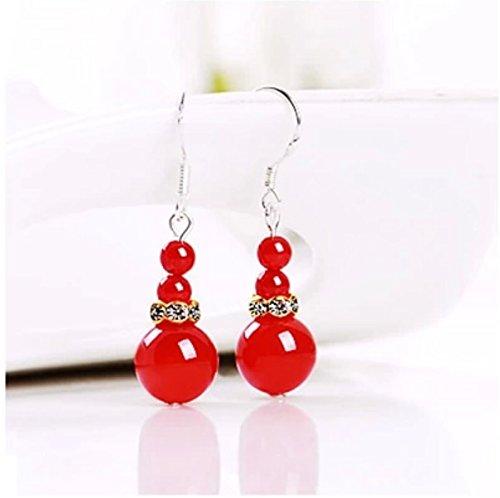 Color Multi Earrings Jade (925 sterling silver jewelry ear hook natural crystal agate earrings earrings wild multi-color jade chalcedony)