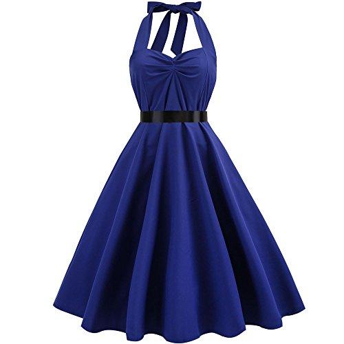 (Women Dresses Godathe Women Vintage Sleeveless Halter Evening Party Prom Swing Dress)