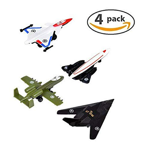 4 AirPlane Toys Cake Toppers. Boys Jet Toy Kids Birthday Cake Airplane Decoration. Air Force Plane Toys (Air Force Jet)