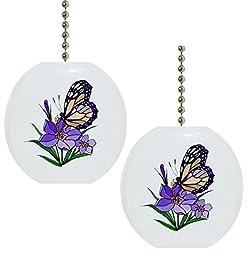 Set of 2 Butterfly Purple Flower Solid CERAMIC Fan Pulls