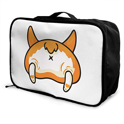 Corgi Butt Plain Washed Lightweight Large Capacity Portable Luggage Bag Fashion Travel Duffel Bag