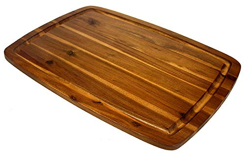 Mountain Woods ABXL Organic Edge-Grain Hardwood Acacia Cutting, Juice Groove, Best Chopping Board (Butcher Block) for Meat, Cheese, Vegetable Serving Tray, 20