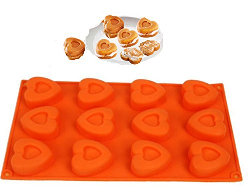 FantasyDay Love Heart Maracoon Mold Chocolate Mold Cookie Mold Silicone Baking Molds for Your Soap, Bread, Loaf, Muffin, Brownie, Cornbread, Cheesecake, Panna Cotta, Pudding, Jello Shot and More #3 ()