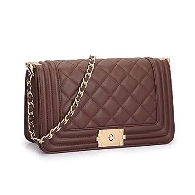 Dasein Women's Designer Quilted PU Leather Twist Lock Crossbody Bag Shoulder Bag Fashion Handbags w/ Chain Strap (Coffee)