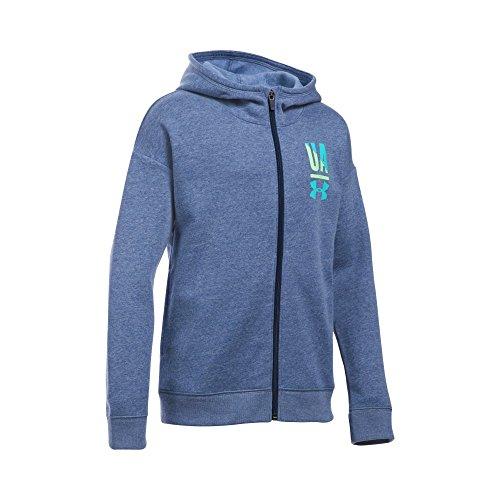 Under Armour Girls' Favorite Full Zip Hoodie, Blackout Navy Light (997)/Venetian Blue, Youth (Out Kids Sweatshirt)