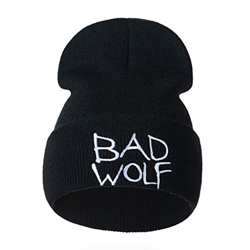 Unisex Beanie Hat Winter Warm Knitted Bad Wolf Letters Embroidery Caps (Black, 117.5 inch)