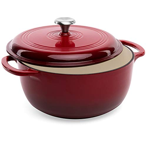 Best Choice Products 6qt Non-Stick Heavy-Duty Cast-Iron Ceramic Dutch Oven w/Enamel Coating, Side Handles, Secure Lid for Baking, Roasting, Braising, Gas, Electric, Induction, Oven Compatible - Red