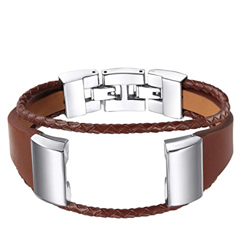 bayite Leather Bands Compatible with Fitbit Charge 2, Leather Band Metal Clasp Smartwatch Replacement Accessory Bracelet, Light Brown Small