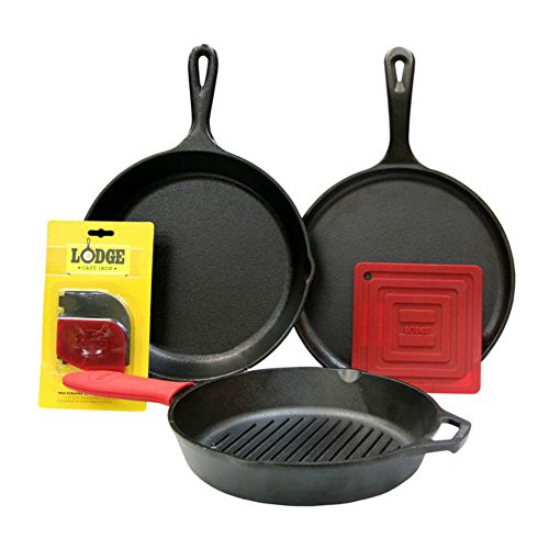 Lodge 6 Piece Seasoned Cast Iron Cookware and Accessories Set (Grill Pan Set) - Complete with Grill Pan, Skillet, Griddle, Pot Holder, Hot Handle Holder, and Pan Scrapers (Made in USA) (Country Finish Bed Wood)
