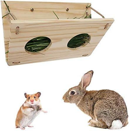 Kitabetty Kaninchen Hay Feeder/Rack, Folding Holz Hay Feeder Pet Food Dispenser, für Kaninchen Meerschweinchen Chinchillas Hamster, hält Gräser sauber und frisch