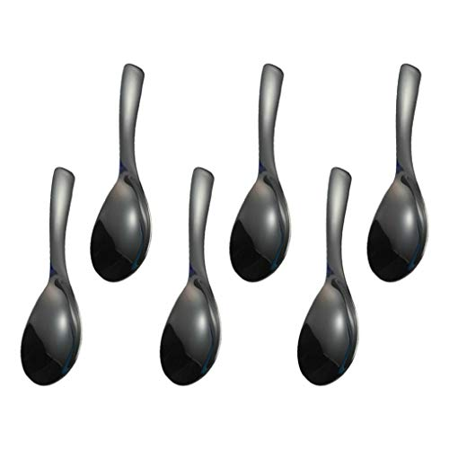 Polished Stainless Steel Ladle - GuDoQi 6 Pack Soup Spoon 304 Stainless Steel Table Spoon 6 Inch Polished Titanium Plated Dinner Spoon Deepen Thicken Large Capacity for Soup Rice Desert (Black)