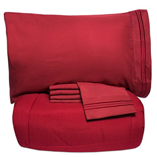 Sweet Home Collection Luxury 5 Piece Bed-In-A-Bag Solid Color Comforter and Sheet Set, Queen, Burgundy - 5 Piece Queen Bed