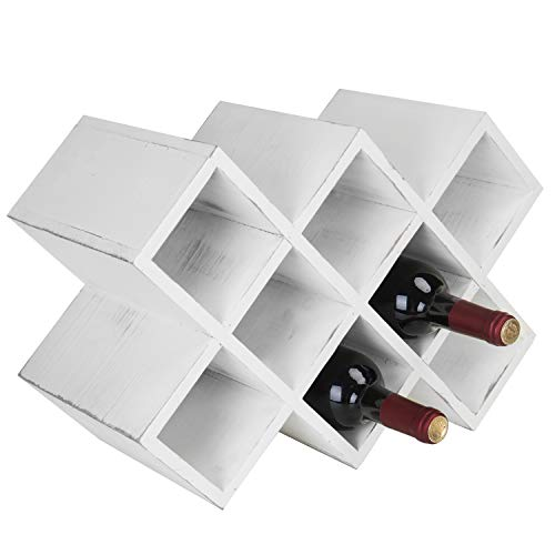 MyGift Vintage White Wood 8-Bottle Countertop Wine Rack
