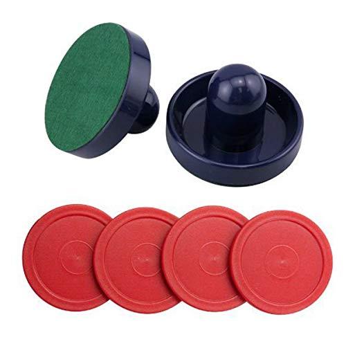 Air Hockey Pushers & Pucks set,Large Size,(2 Navy pushers+ 2 lints + 4 Red Pucks)by Yeelan