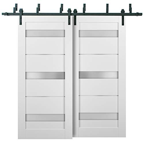 Barn Bypass Doors 84 x 96 with 6.6ft Hardware | Quadro 4055 White Silk with Frosted Opaque Glass | Sturdy Heavy Duty…