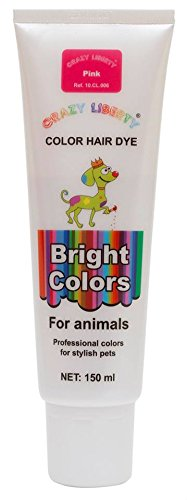 CRAZY LIBERTY Pets Hair Dye, Permanent Non-Toxic (Pink), Hypoallergenic, for Creative Grooming. Vivid Color.