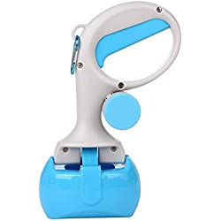 Pet Cleaning Products Long Handle Toilet Dog Cat Pick up Dog Feces Shovel Toilet with Waste Bag Dispenser,Blue