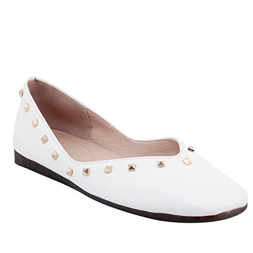 Carolbar Women's New Style Concise Rivets Flat Square Toe Loafer Shoes White p1mIub3Am