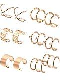 ear clips earrings - Hestya 6 Pairs Stainless Steel Ear Clips Non Piercing Earrings Hoop Ear Cuffs Cartilage Ear Clips Set for Men Women, 6 Various Styles (Rose-Gold)