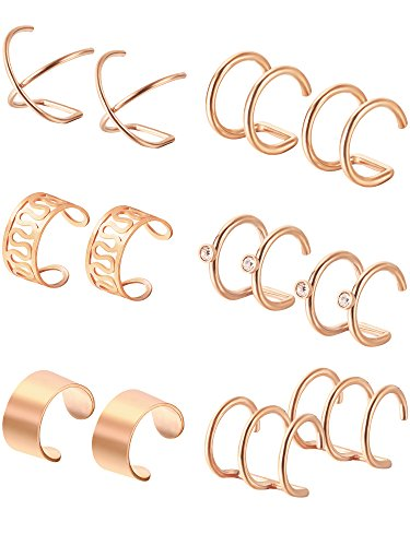 Rose Pierced Earrings - 6 Pairs Stainless Steel Ear Clips Non Piercing Earrings Hoop Ear Cuffs Cartilage Ear Clips Set for Men Women, 6 Various Styles (Rose-Gold)