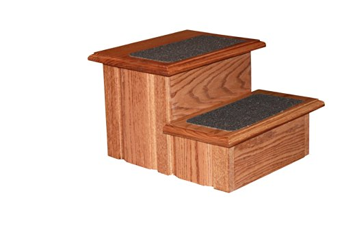 Early American Finished Solid Oak Step Stool With Non Slip Tread 11 ½'' Tall by Premier Pet Steps