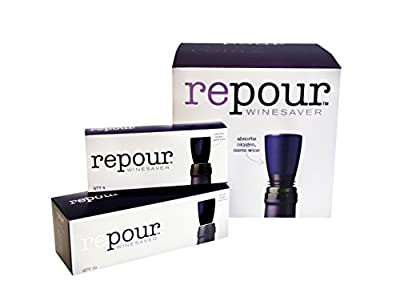 Repour Wine Saver -- Wine Preserver and Stopper, Removes harmful oxygen from your wine, simply and effectively