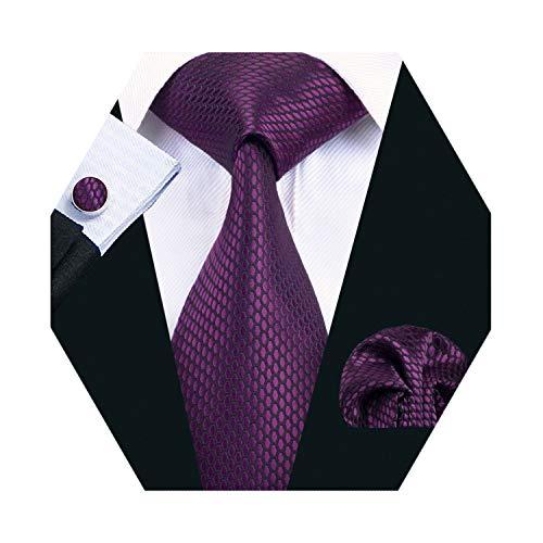 (Barry.Wang Mens Purple Tie Set Solid Silk Necktie Pocket Square Cufflinks Extra Long Tie)