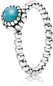 Pandora Birthday Blooms December Turquoise Ring 190854tq-54 Size 7