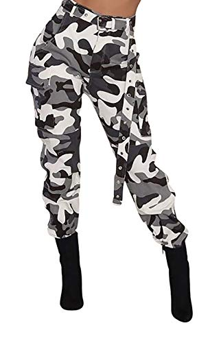 (Voghtic Women's Active Loose Fit Jeans Multi-Pockets Wild Cargo Pants with Belt Black)
