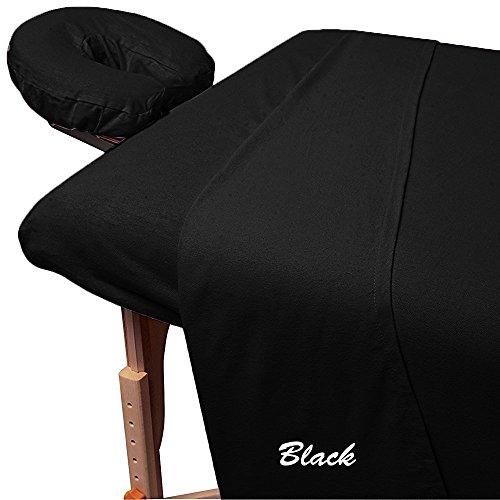 Rinku Linen 300 Thread Count Egyptian Cotton 3-Piece Massage Table Spa Sheet Set Black Solid