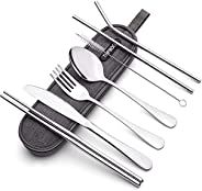 Elegant Stainless Steel Flatware Set, Healthy & Eco-Friendly 4 Pieces Knife Spoon Set, Portable Travel Sil