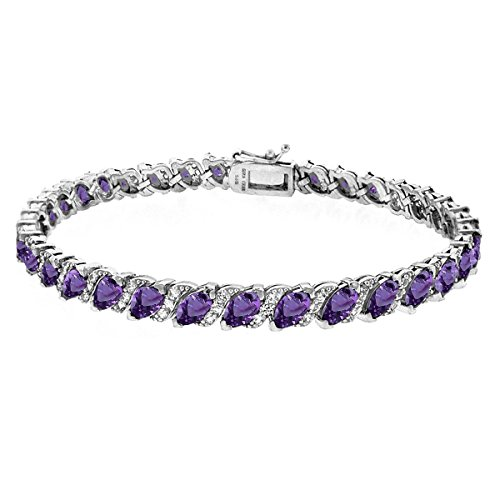 GemStar USA Sterling Silver African Amethyst Marquise-Cut Tennis Bracelet with White Topaz Accents