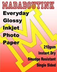 Madaboutink Single Sided Gloss Inkjet Glossy Photo Paper 210GSM 500 A3 Sheets (A3 Photo Quality Glossy Paper)