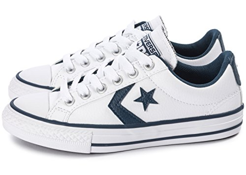 Converse Star Player Junior White Synthetic Trainers White Navy