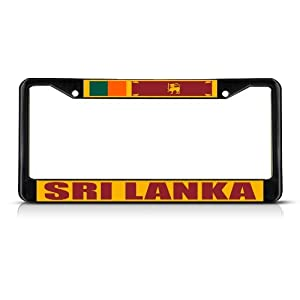 Yves Horace SRI LANKA FLAG Black Heavy Duty Metal License Plate Frame Tag Border