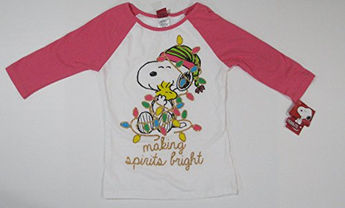 Woodstock Girl Costumes (Peanuts Snoopy in Christmas Lights 3/4 Sleeve Shirt Size Girls Youth Medium)